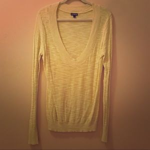 Express V-Neck Yellow Sweater - Size Large